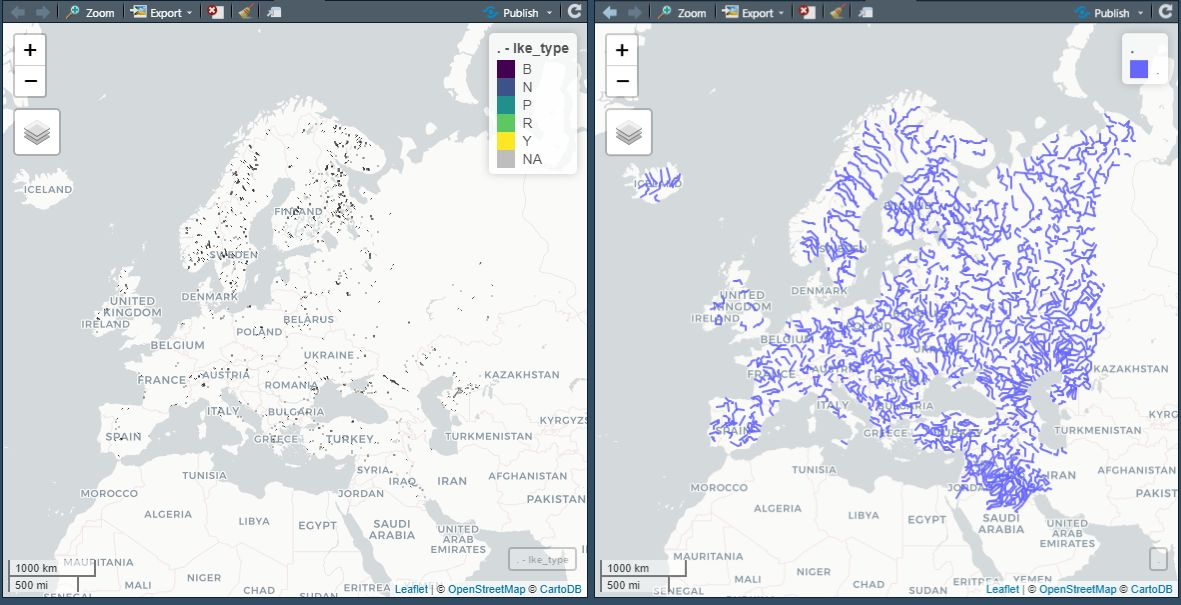 Supplemental data for European lakes (on the left) and rivers (on the right) from Natural Earth. Displayed with mapview of course!