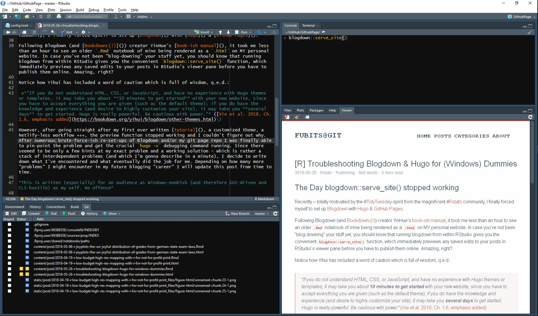 (This is what writing this post looks in my RStudio. Notice the preview pane on the bottom right.)
